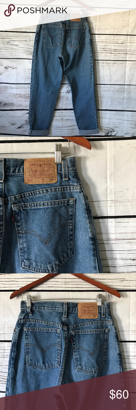 Levi's 550 tapered high waisted jeans Previously owned hard to find.vintage 80's high Waist, relax fit , tapered mom jeans. No rips or stains. Levi's Jeans