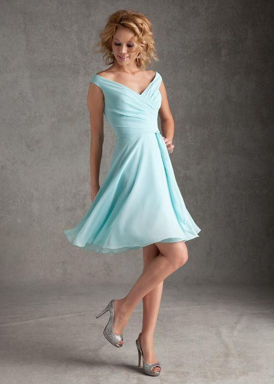 mind-blowing Mint Off The Shoulder Straps V Back Chiffon Bridesmaid ...