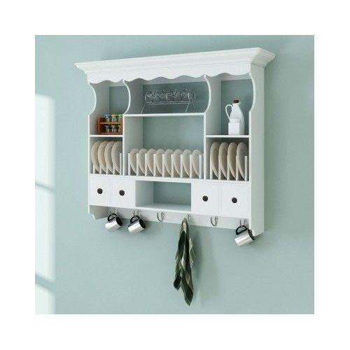 Kitchen Furniture | eBay  sc 1 st  Pinterest & Wall Kitchen Dresser Hanging Plates Rack Wooden Shelf and Storage ...