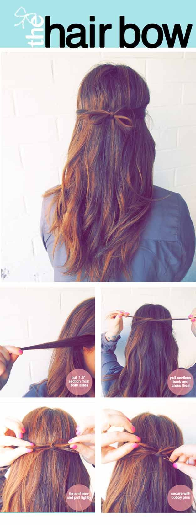 Quick And Easy Hairstyles For Straight Hair The Tidy Hair Bow Popular Haircuts And Simple Step By Step Hair Styles Long Hair Styles Five Minute Hairstyles