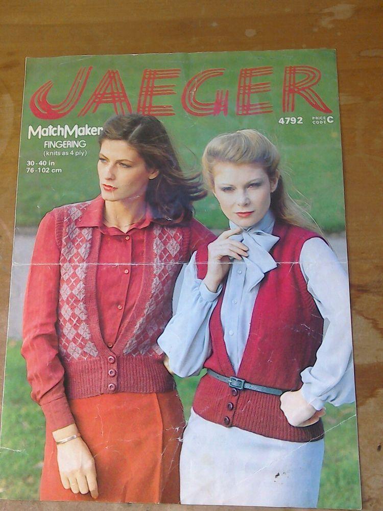 Original Vintage 1980s Jaeger Knitting Pattern Ladys Top Waist Coat ...