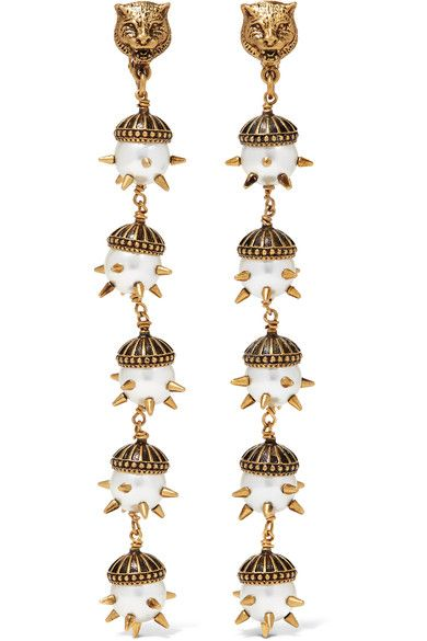 b52694725 GUCCI Gold-plated faux pearl clip earrings. #gucci #jewelry | Gucci ...