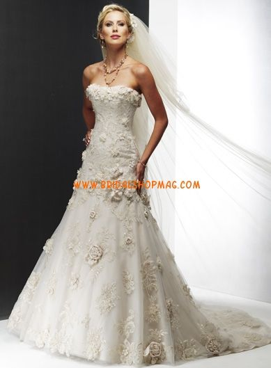 Princess A-line Strapless Embroidered Satin Lace Wedding Dresses