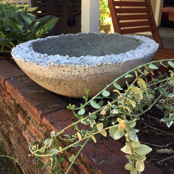 simple diy metallic concrete project made with sakrete concrete mix silver spray paint masking