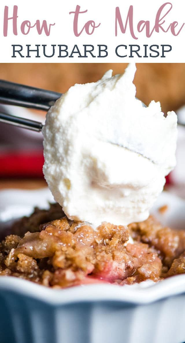 One of the best ways to use rhubarb! This Easy Rhubarb Crisp has crumble on the bottom and the top. It's a sweet & tart old fashioned dessert you'll love.