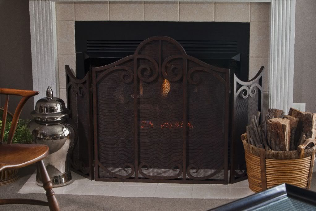 Old World Scrolled 3 Panel Fireplace Screen W Mesh Antique ...