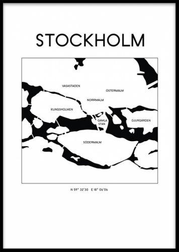 karta stockholm poster Karta över Stockholm i svartvitt, grafisk tavla   TEXT   Pinterest  karta stockholm poster