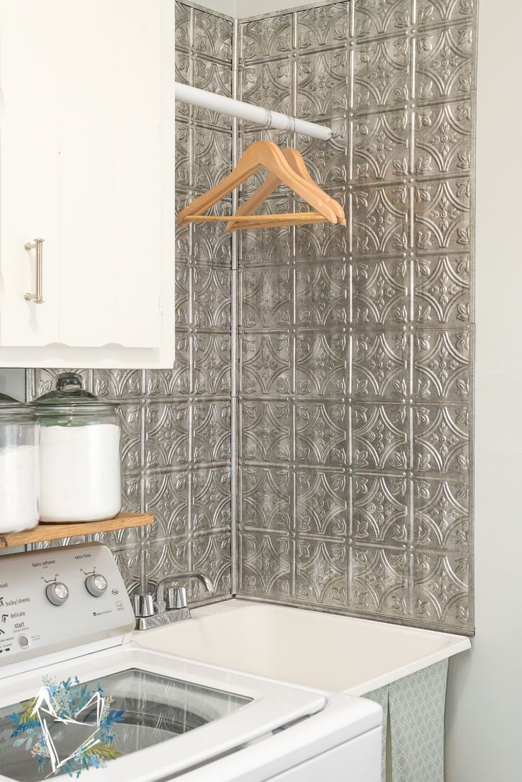 Give Your Utility Sink An Amazingly Inexpensive Makeover With Faux Tin  Backsplash From The Home Depot.