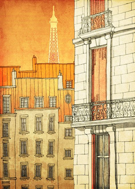 Going crazy with ideas for decorating!    PARIS's windows  - Paris illustration - Paris art illustration print - Paris decor -Love,orange,yellow,Paris wall art,France,French fine art. $20.00, via Etsy.