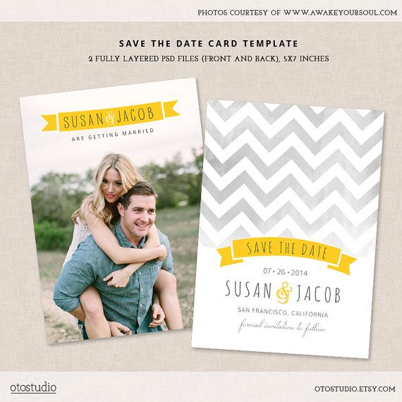 Save The Date Wedding Card Template With Chevron Pattern In Gray