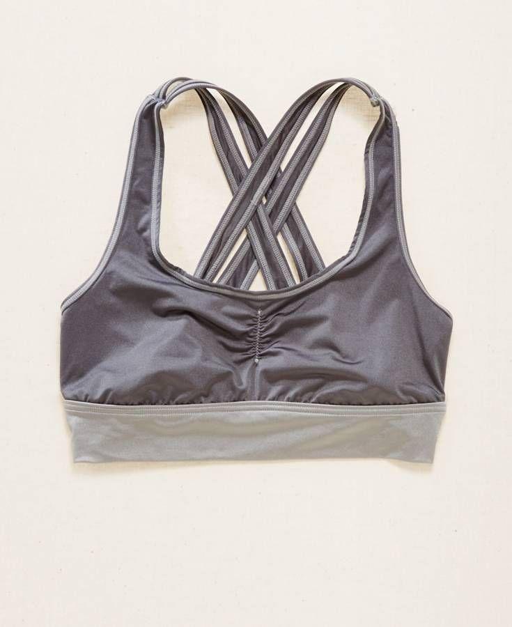 Aerie Shine Sports Bra, Women's, Grey