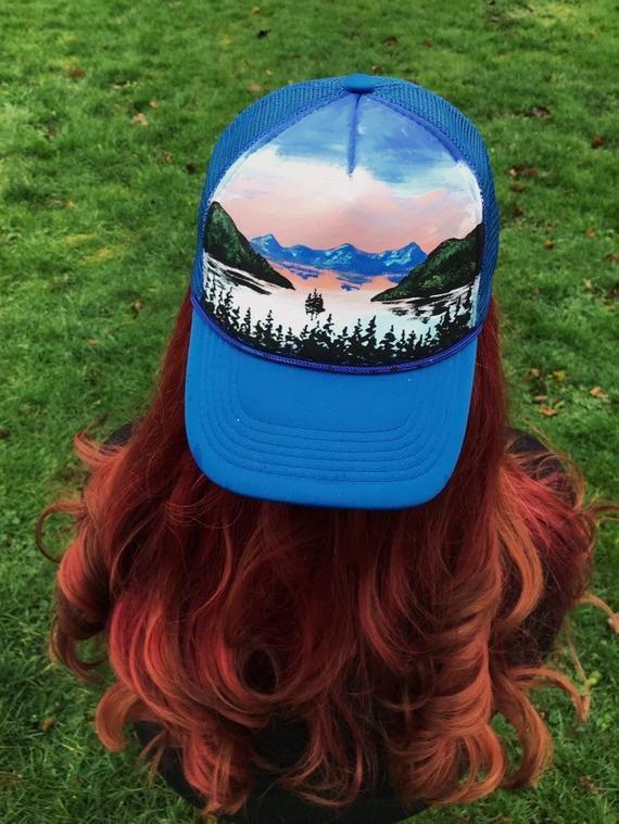 3c098284f7a Lake Tahoe hat   handpainted snapback   custom trucker hat