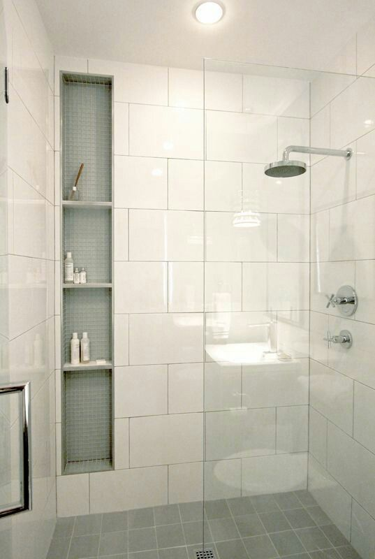 Loving the single pane of glass and in wall shelving for full bath bathroom remodel smalltile also
