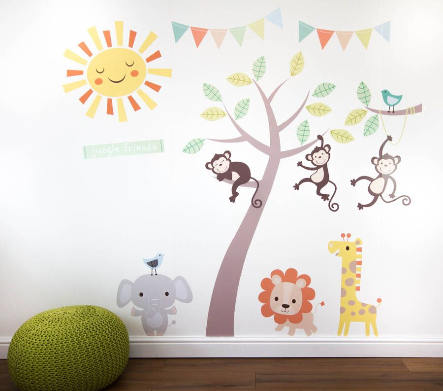 High Quality Lovely Pastel Jungle Animals With Tree Wall Stickers.Now, When Purchasing A  Small Set Part 32