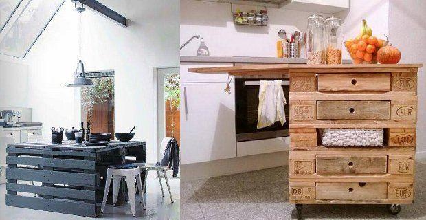 Decoraci n de cocina con palets de madera mesas y - Ideas con palets de madera ...