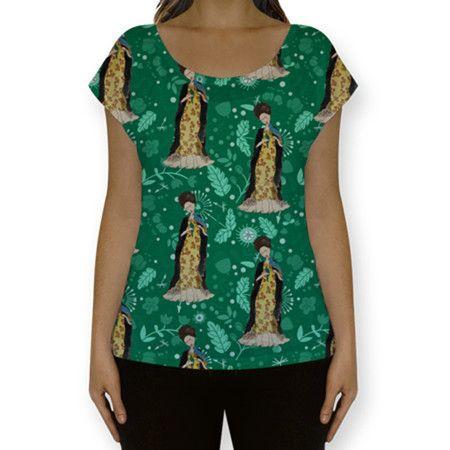 Camiseta Frida com Pássaros (Verde)
