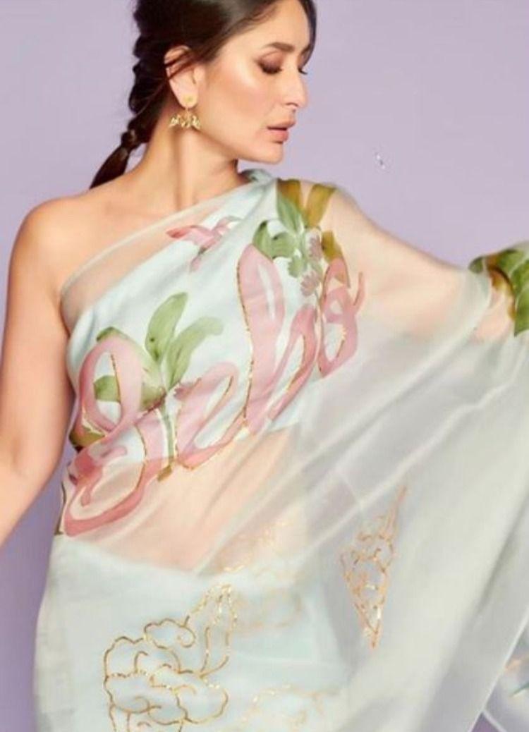 Kareena S Look For Kapil Sharma Show Kareena Kapoor Saree Organza Saree Party Wear Sarees