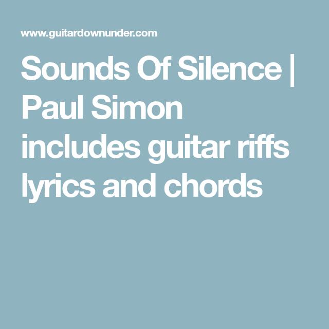 Sounds Of Silence | Paul Simon includes guitar riffs lyrics and ...