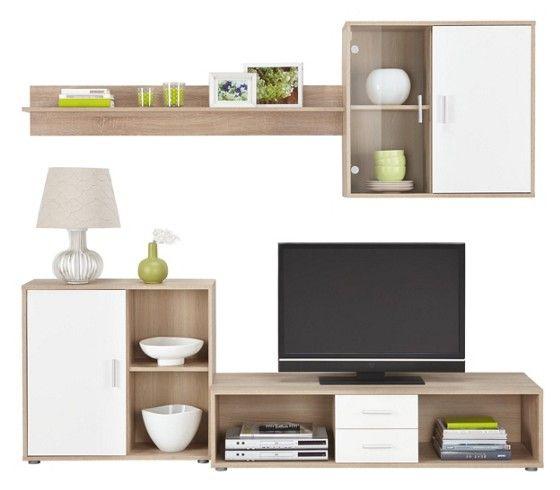 wohnwand wei eichefarben wohnzimmer pinterest wohnwand g nstig m max und g nstig. Black Bedroom Furniture Sets. Home Design Ideas