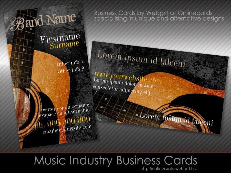Music Industry Business Cards Acoustic Grunge Guitar Music - Music business card template