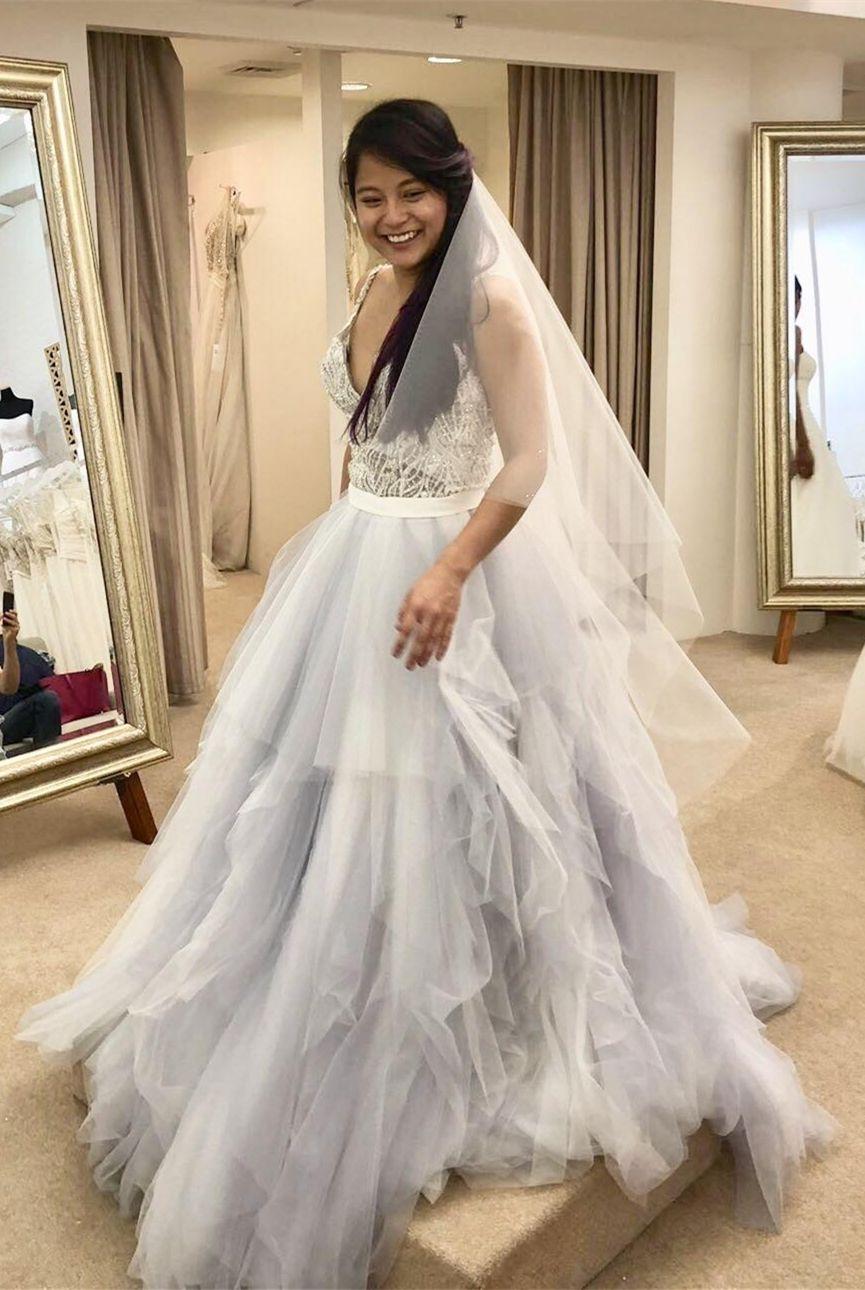 A-Line Straps Long Light Silver Wedding Dress with Appliques | Dream ...