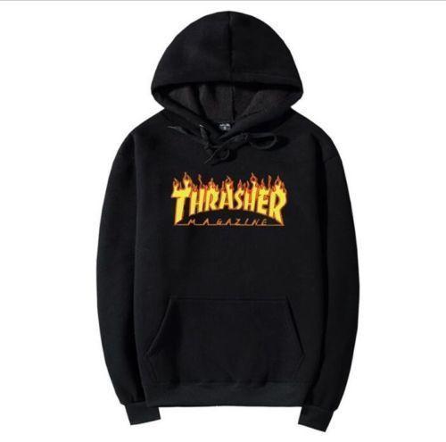 4cc3305ac562  9.98 - 2018 Mens Hip-Hop Hoodie Basic Skateboard Jacket Thrasher  Sweatshirts Sweater  ebay