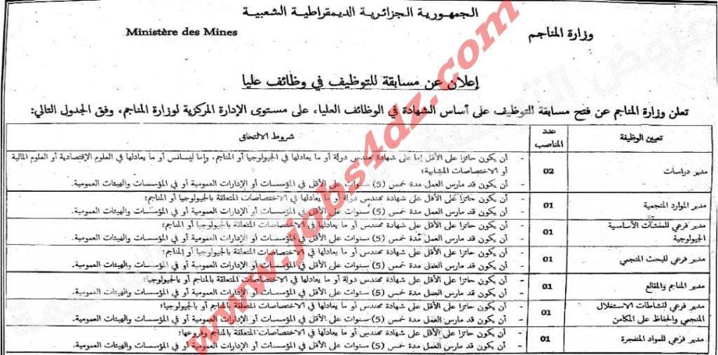 إعلان توظيف على مستوى الإدارة المركزية لوزارة المناجم بالمرادية بالجزائر العاصمة Chart