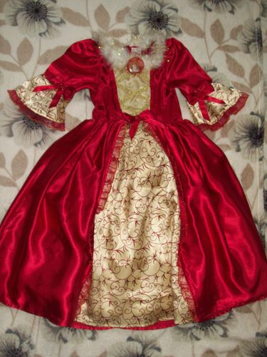 Disney Princess Belle Beauty Beast Red Deluxe Winter Fancy Dress Up Costume 3 4
