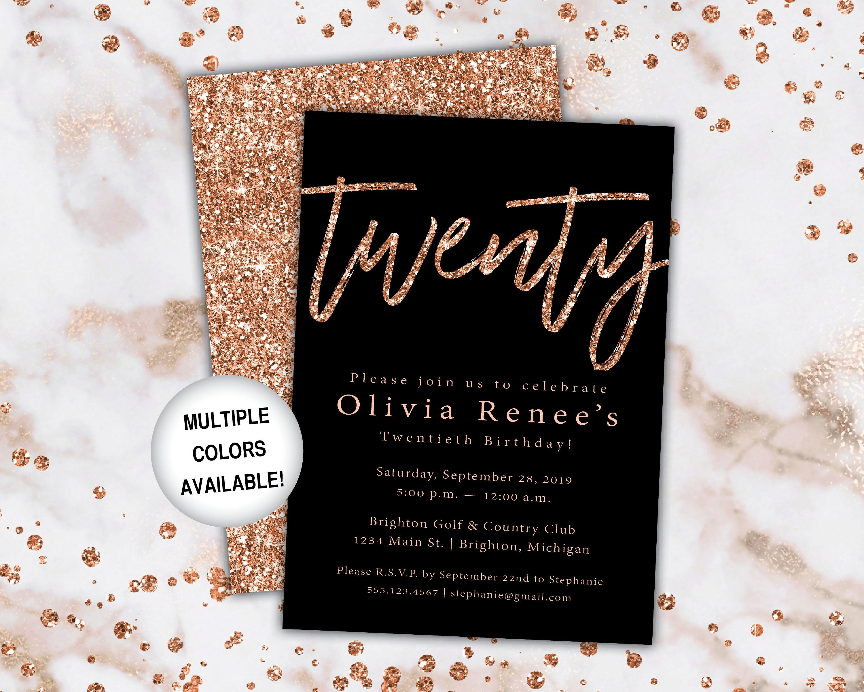 birthday invitation template rose gold