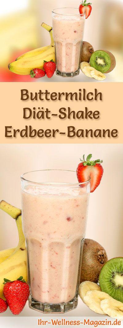 Buttermilch-Shake mit Erdbeeren und Banane - Diät-Shake-Rezept mit Buttermilch #proteinshakes