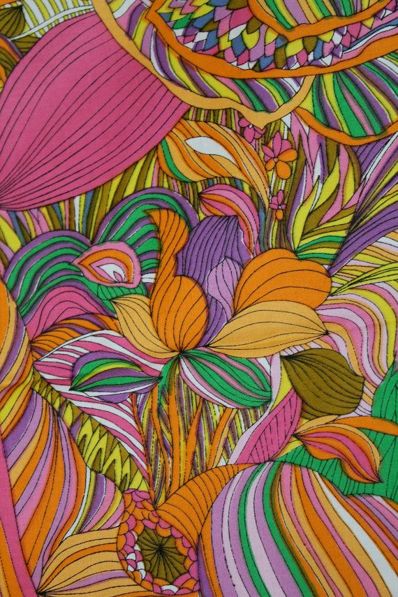 vintage psychedelic trippy fabric 60s 70s cotton sateen