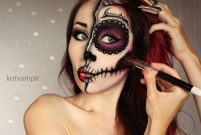Pin by on halloween costume pinterest sugar skulls sugar skull make up tutorial by kotvampir baditri Image collections