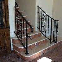 Beautiful Italian Style Wrought Iron Railing On Stone Steps With Hand Painted Tiles Elegant Vil Rustic Doors Spanish Style Doors Wrought Iron Railing Exterior