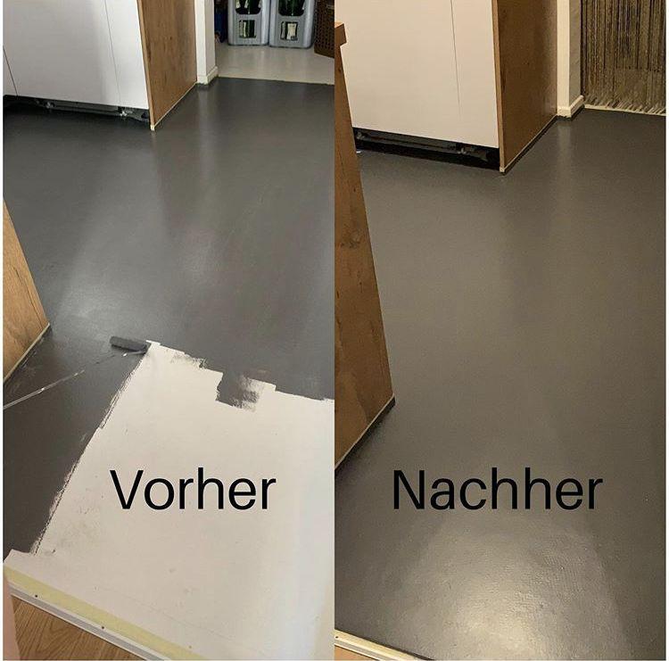Fußboden streichen mit Kreidefarbe