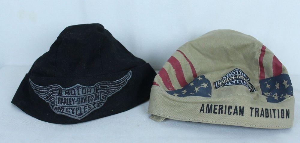 46254c4f1 Lot of 2 Authentic Harley Davidson Do Rag Skull Caps Bandana Hat ...