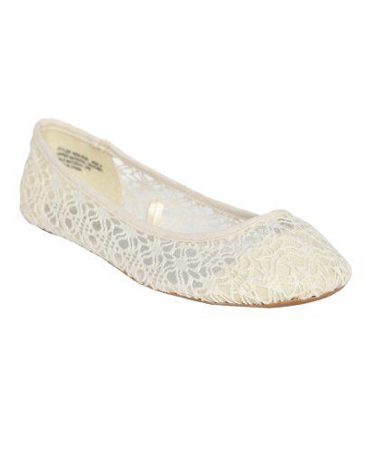 73423f43e51 Wet Seal Womens Ivory Crochet Floral Ballet Flat 7 M US Wet Seal