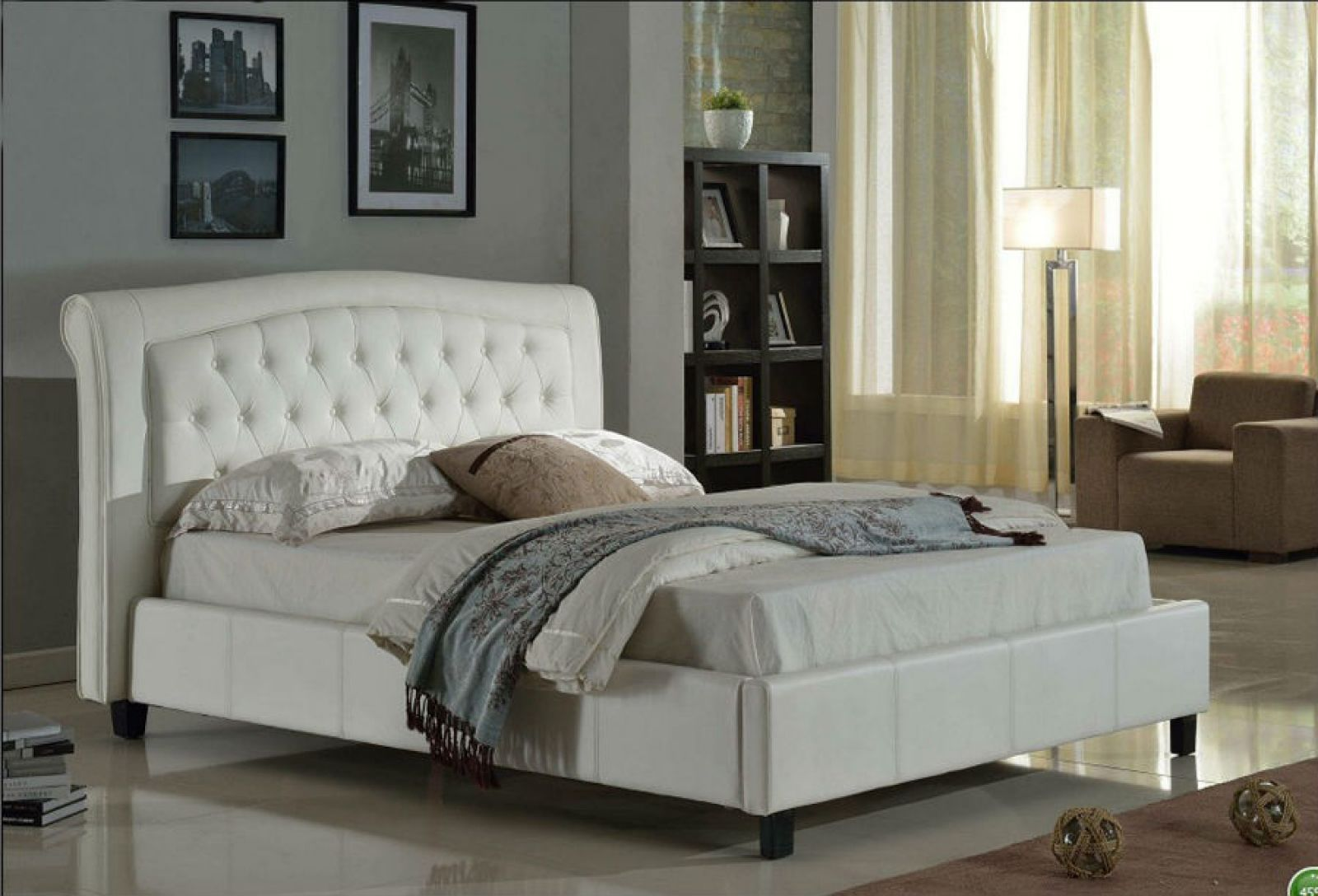 Luxury White Leather Bed QUEEN Hometown Furniture Ltd