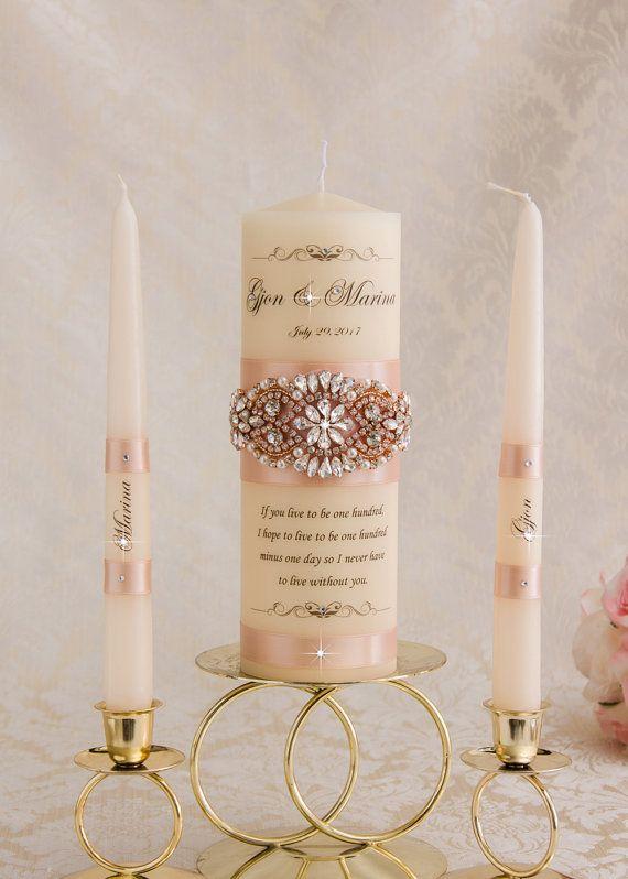 Personalized Unity Candle Set Rose Gold Unity Candle Romantic
