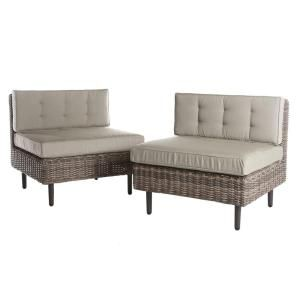 AE Outdoor Aimee 2-Piece Wicker Patio Seating Set with Cast-Ash Cushions C842002CAS at The Home Depot - Mobile