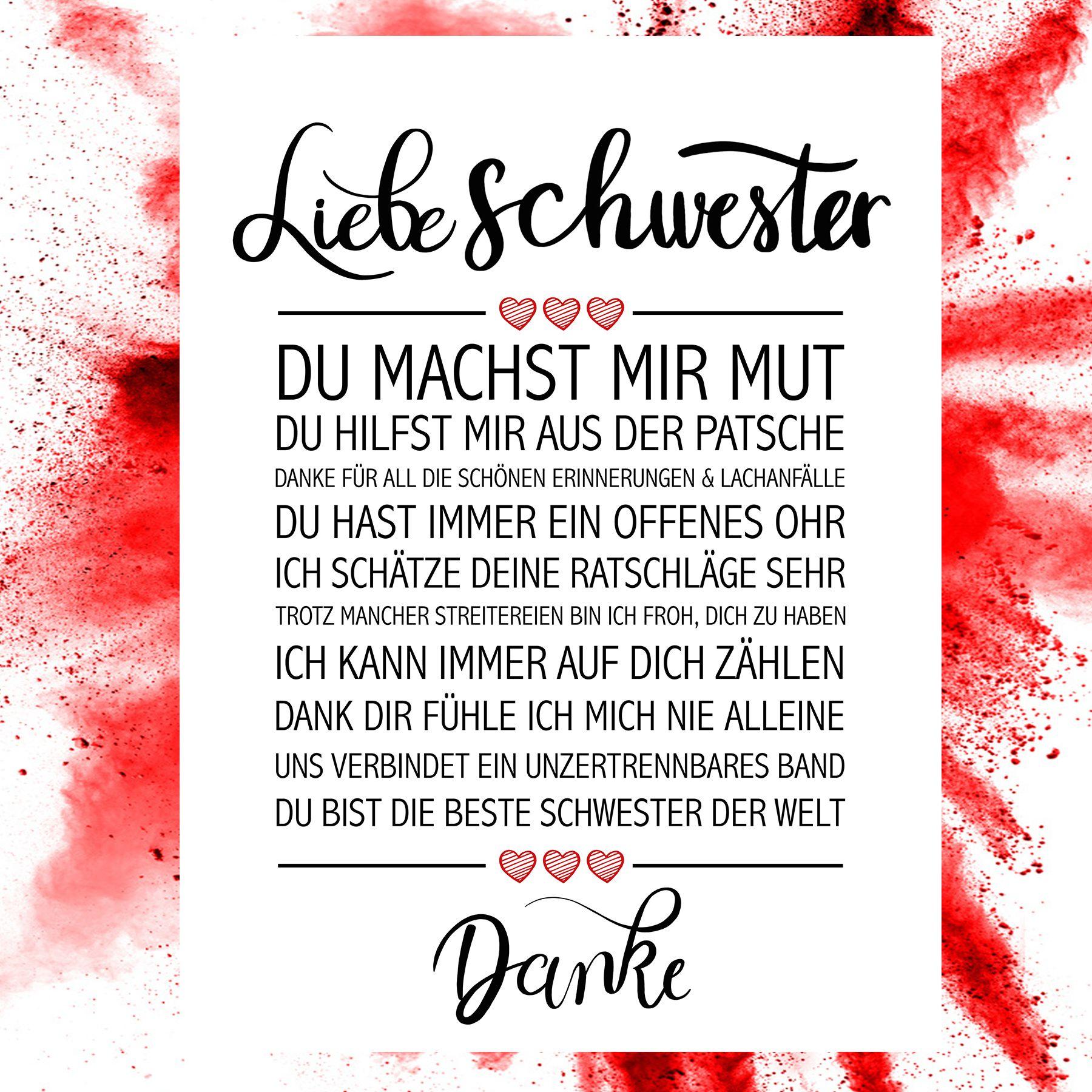 Liebe Schwester Kunstdruck Beste Kollegin Geburtstag Schwester