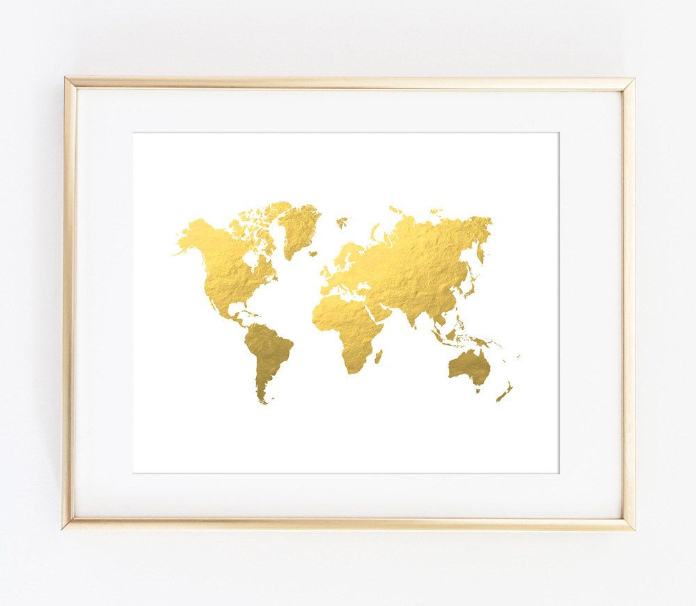 World map print gold world map gold map printable art print gold world map wall decal gold office decor bedroom wall decal office decor gold map copper decor gold foil decor world map gumiabroncs
