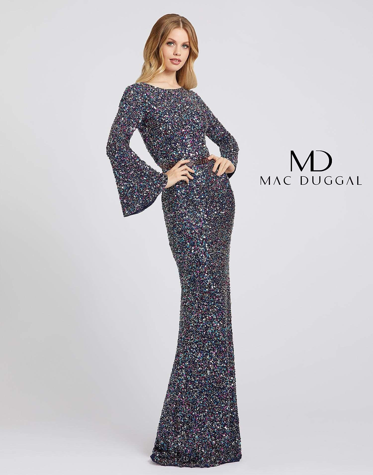 Mac Duggal Couture Nude/Gold Flash V-neck Sequin Mermaid