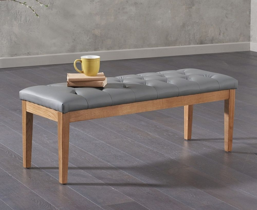 Mark Harris Courtney Grey Faux Leather Dining Bench Leather