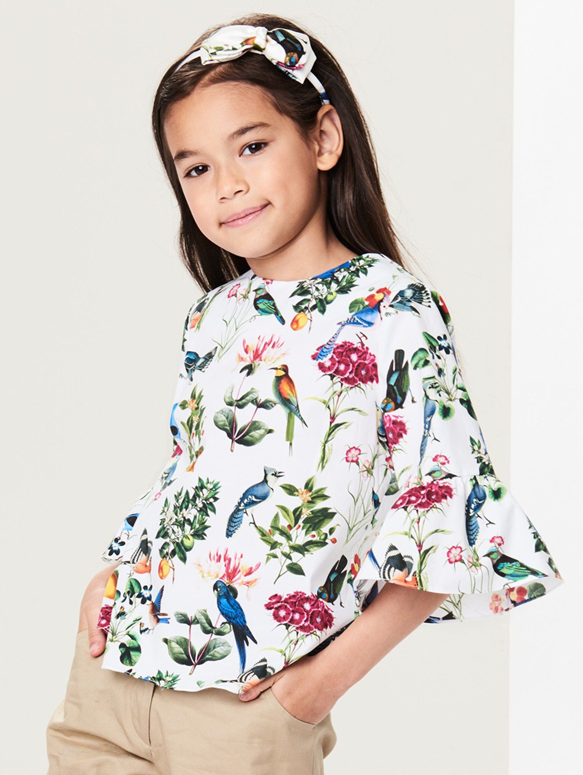 Oscar de la Renta - Botanical Birds Cotton Bell-Sleeve Blouse ...