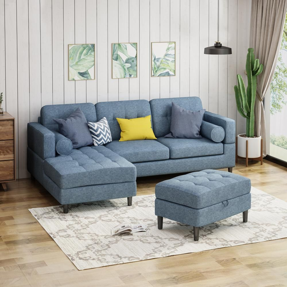 Wondrous Noble House Florentia 3 Piece Navy Blue Tweed Sectional Sofa Pabps2019 Chair Design Images Pabps2019Com