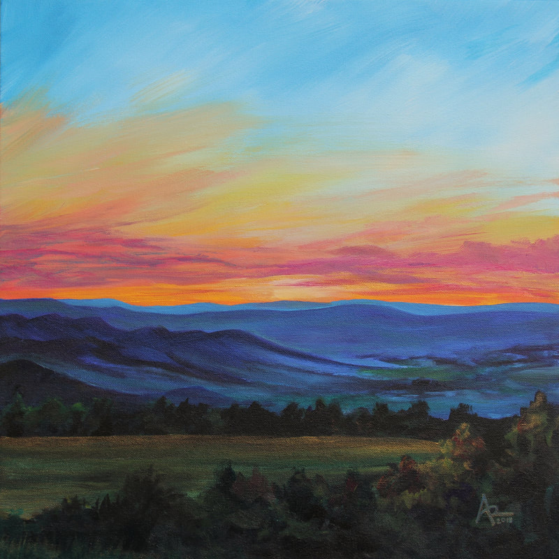 Virginia Painting By C Ashley Krieger Sunset Blue Ridge Mountains Landscape Painting Orang Sunset Landscape Painting Mountain Painting Acrylic Sunset Painting