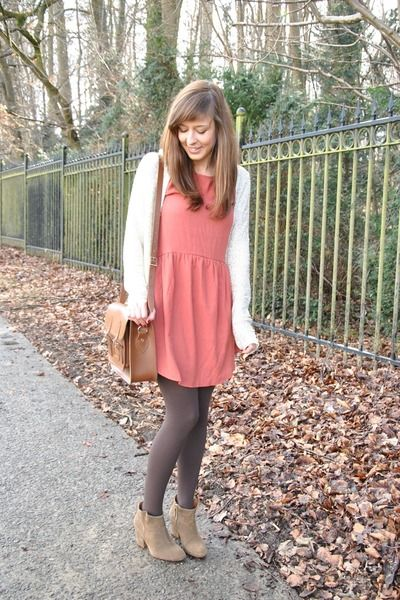 rose dress + cream sequin cardigan + grey tights & tan ankle boots