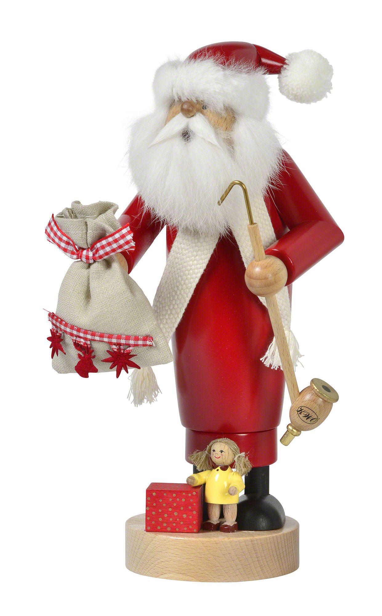 Smoker Santa with Doll 25 cm / 10 inch German smoker