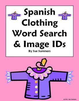 spanish clothing word search puzzle and picture ids substitute lesson spanish spanish. Black Bedroom Furniture Sets. Home Design Ideas