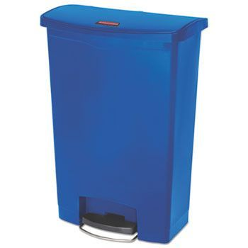 Slim Jim Resin Step-On Container, Front Step Style, 24 Gal, Blue